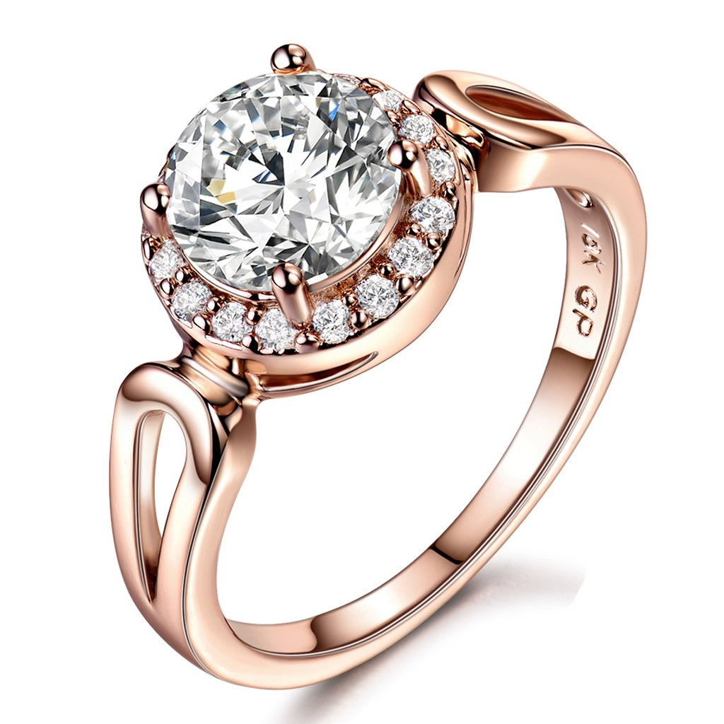 GULICX Jewelry Rose-Gold Base CZ Round White StoneWomen Gorgeous Ring Size 8