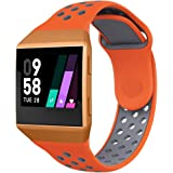 UMTELE For Fitbit Ionic Band, Two-toned Perforated Replacement Strap Breathable Accessory Wristband with Quick Lock&Release Buckle for Fitbit Ionic Smart Watch