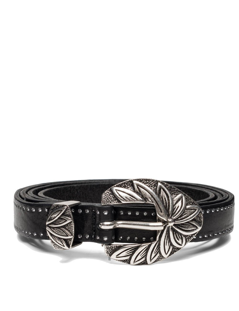 Replay Women's Women's Leather Black Belt With Studs in Size 85 Black