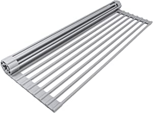 """Fasmov 17""""LX 13""""W Over-the-Sink Roll up Dish Drying Rack Kitchen Roll up Sink Drying Rack Portable Dish Rack"""