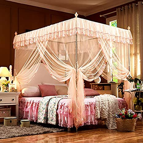 SanQing Mosquito Netting Pink Princess 4 Corners Post Bed Curtain Canopy Mosquito Netting Including Tents And Frames,Jade,2.0x2.2mbed22mmH