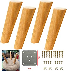 MWPO 4 pcs Solid Wood Furniture Legs,Oblique Tapered Sofa TV Table Legs,Cabinet Replacement Feet,for Couch Feet Chest of Drawers Cabinet DIY Furniture Project,with Mounting Plates(25cm/9.8in)