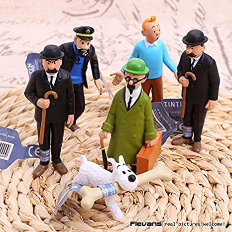 Amazon.com: The Adventures of Tintins The Secret of the Unicorn Tintin PVC Action Figure Collectible kids Toys 6pcs/set: Toys & Games
