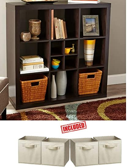 Better Homes And Gardens 9 Cube Organizer Storage Bookcase Bookshelf Espresso Finish With 2 Pack