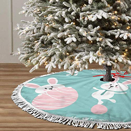 JIAQI11 Lovely Easter Bunny Christmas Tree Skirts 48inches,Xmas Party Holiday Decorations,The Perfect, 3 Kinds of Size