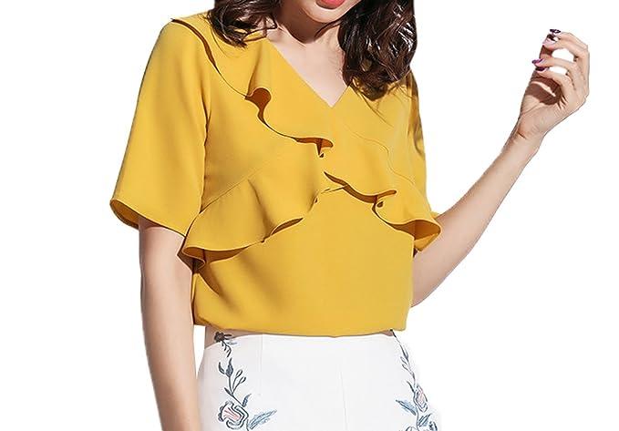 Verano Top para Mujeres Moda Cuello V Manga Corta Blusa Camisetas Casual Colores Lisos Lado de