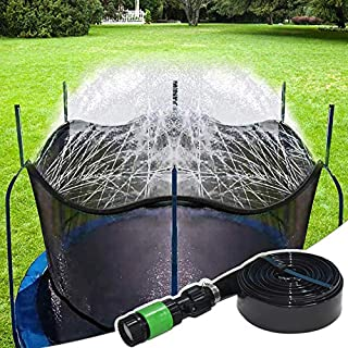 Bobor Trampoline Sprinkler for Kids, Outdoor Trampoline Backyard Water Park Sprinkler Fun Summer Outdoor Water Toys for Boys Girls. (Dark Black, 39ft)