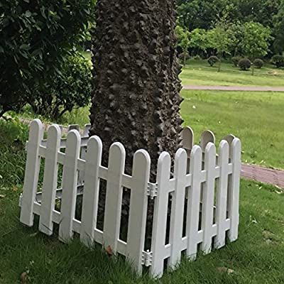 Hineway Christmas Tree Decor Wall Border Picket Fence White PVC Fences 4 Pieces 19.7X11.4inches