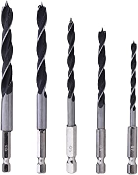 """5pcs Drill Bit Set 4 5 6 8 10mm Quick Change Metal Tools 1//4/"""" Hex Shank Wood HCS"""