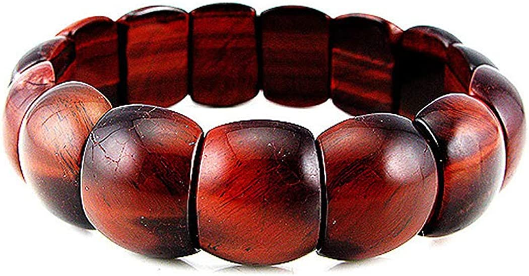Glamorousky Natural Tigers Eye Stretch Bracelet 3470 Red