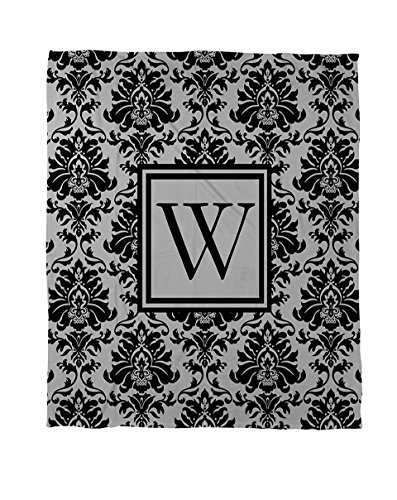 Manual Woodworkers & Weavers Coral Fleece Throw, 60 by 80-Inch, Monogrammed Letter W, Black and Grey Damask