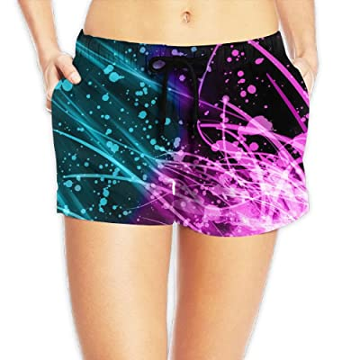 Tvsuh-u Splatter Paint Women's Beach Short Board Shorts Quick Dry Swim Trunk