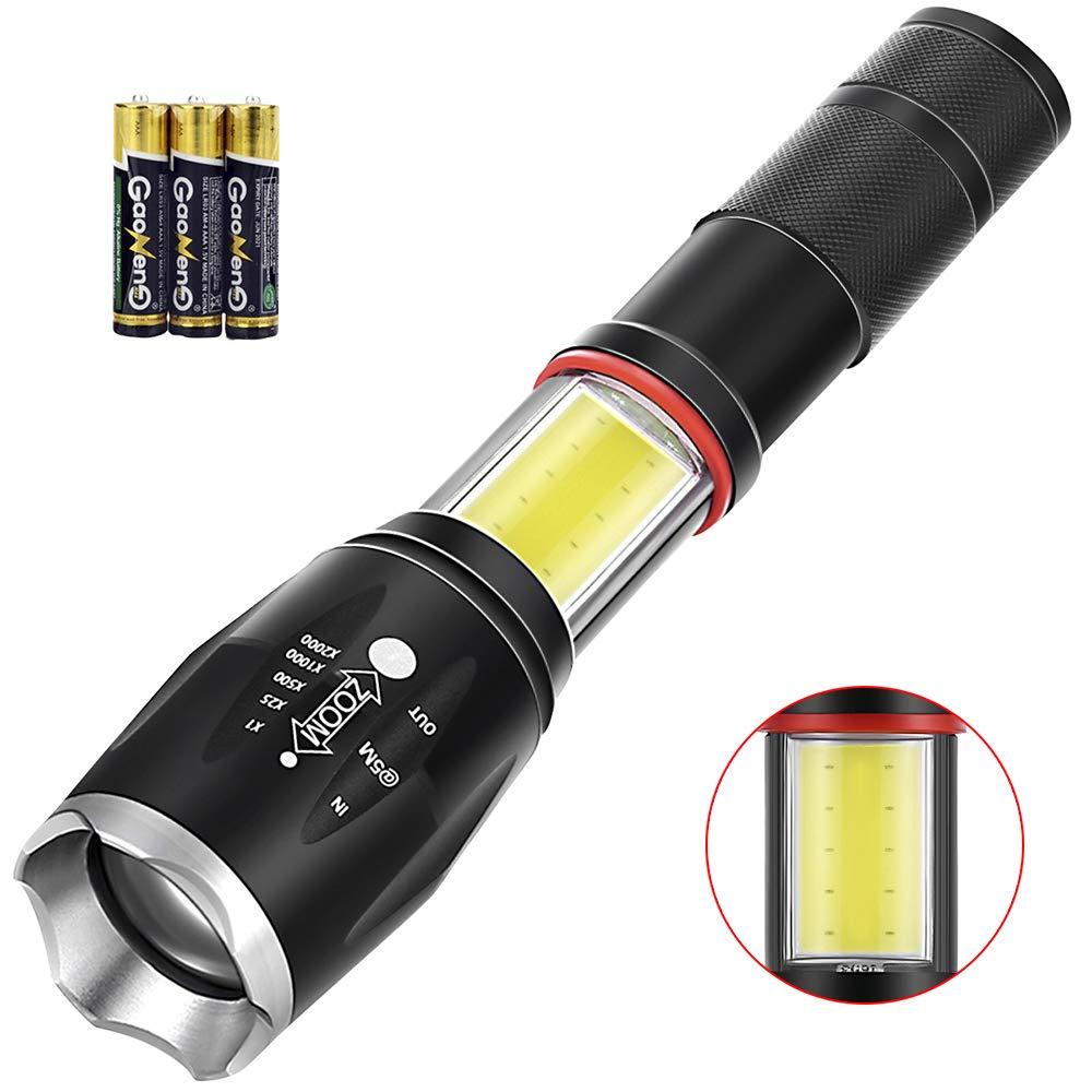 Didisky Linterna LED Recargable Tactical Flashlight 2 en 1 Golden Frontal Light con Zoom ajustable + luz lateral COB LED, 1200 Lumen Alta Potencia T6 de enfoque, 2 x batería 18650 de iones de litio pilas incluidas.
