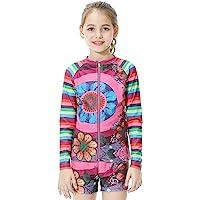 Girls Swimsuit Two-Piece Swimwear Long Sleeve Swimsuits Bathing Suit for Kids 6-14