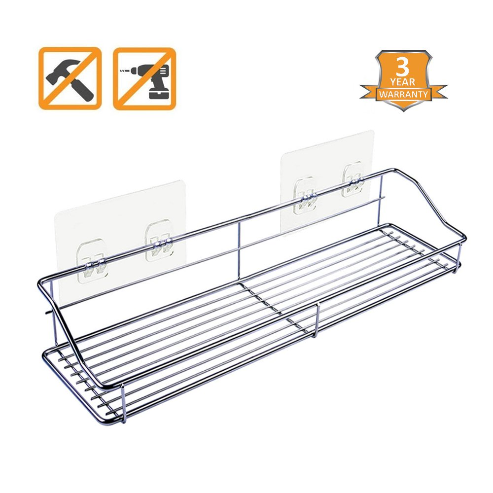 Crehome Design Bathroom Shelf Shower Shelf - Shower Caddy for Shampoo Holder Kitchen Rack Storage Organizer No Drilling SUS304 Stainless Steel Self Adhesive Shelf