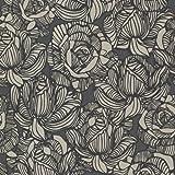 Beacon House 450-67346 Calista Black Modern Rose Wallpaper, Black