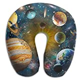 Ministoeb Solar System Planets Illustration Unique U Shaped Neck Pillow - Comfortable Soft Neck Support Pattern Pillow - For Rest Travel Car Airplane Bed Sofa