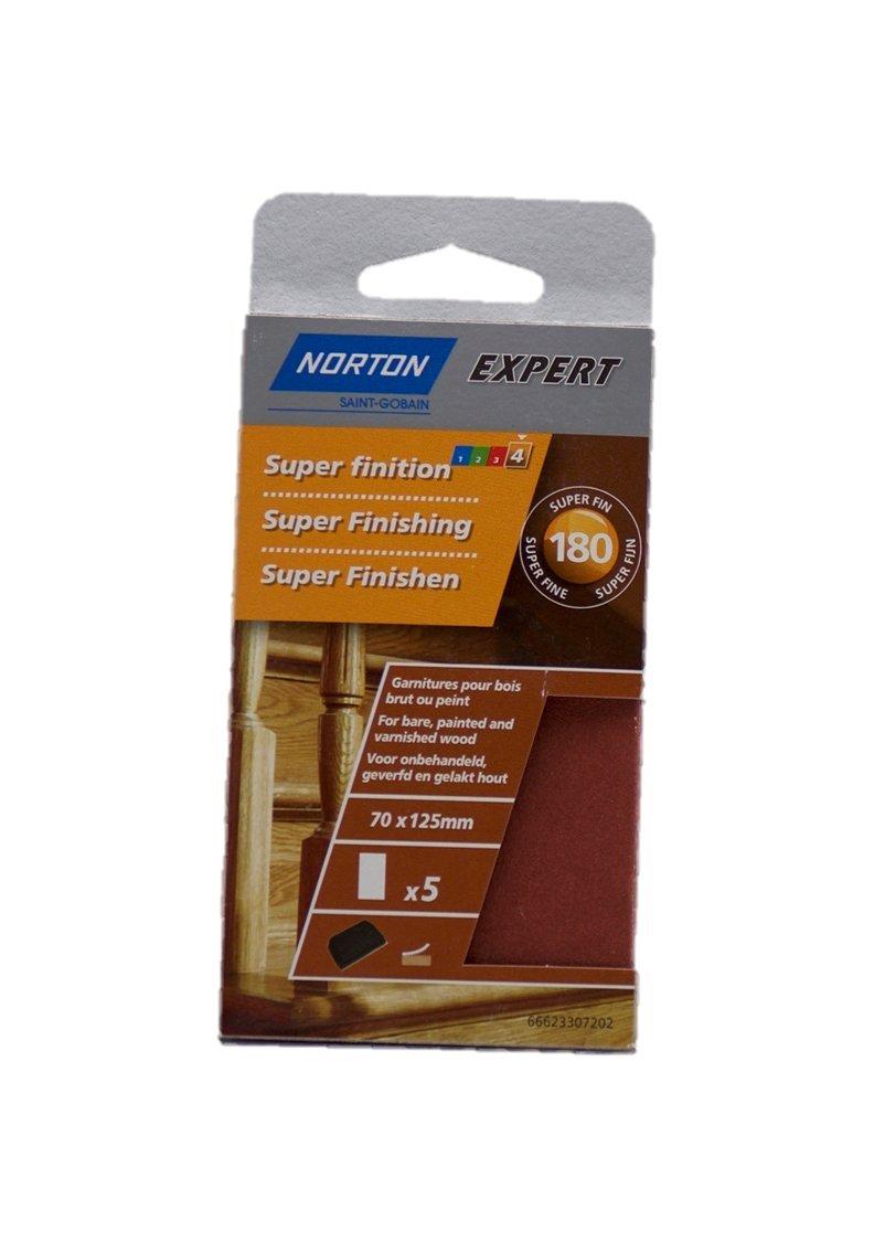 Norton Lot de 5 Garnitures bois 70 x 125 mm Grain 180