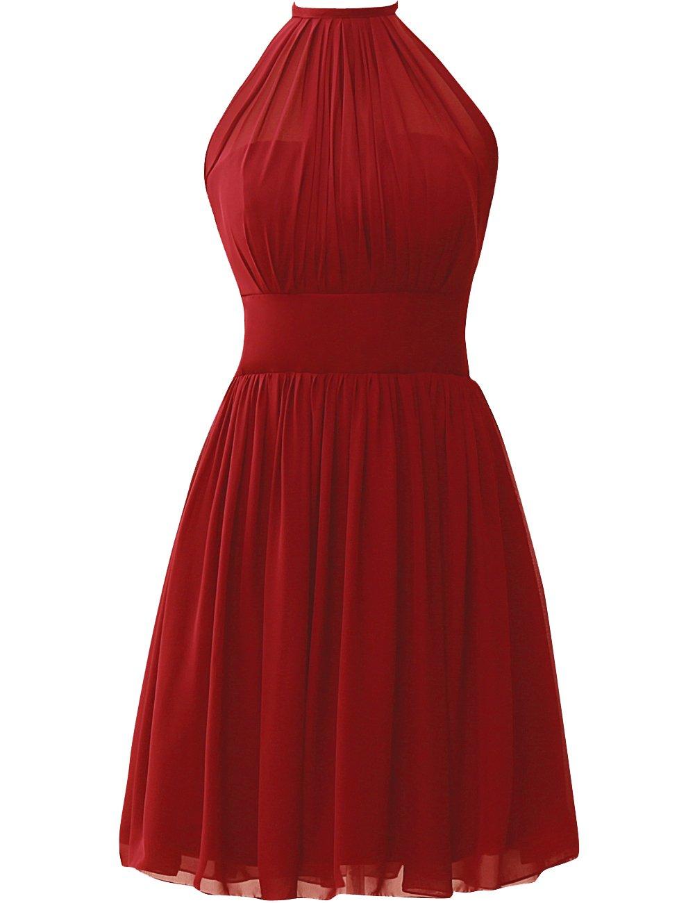 JAEDEN Bridesmaid Dress Short Homecoming Dresses Chiffon Prom Dress Halter Gown Red 5X