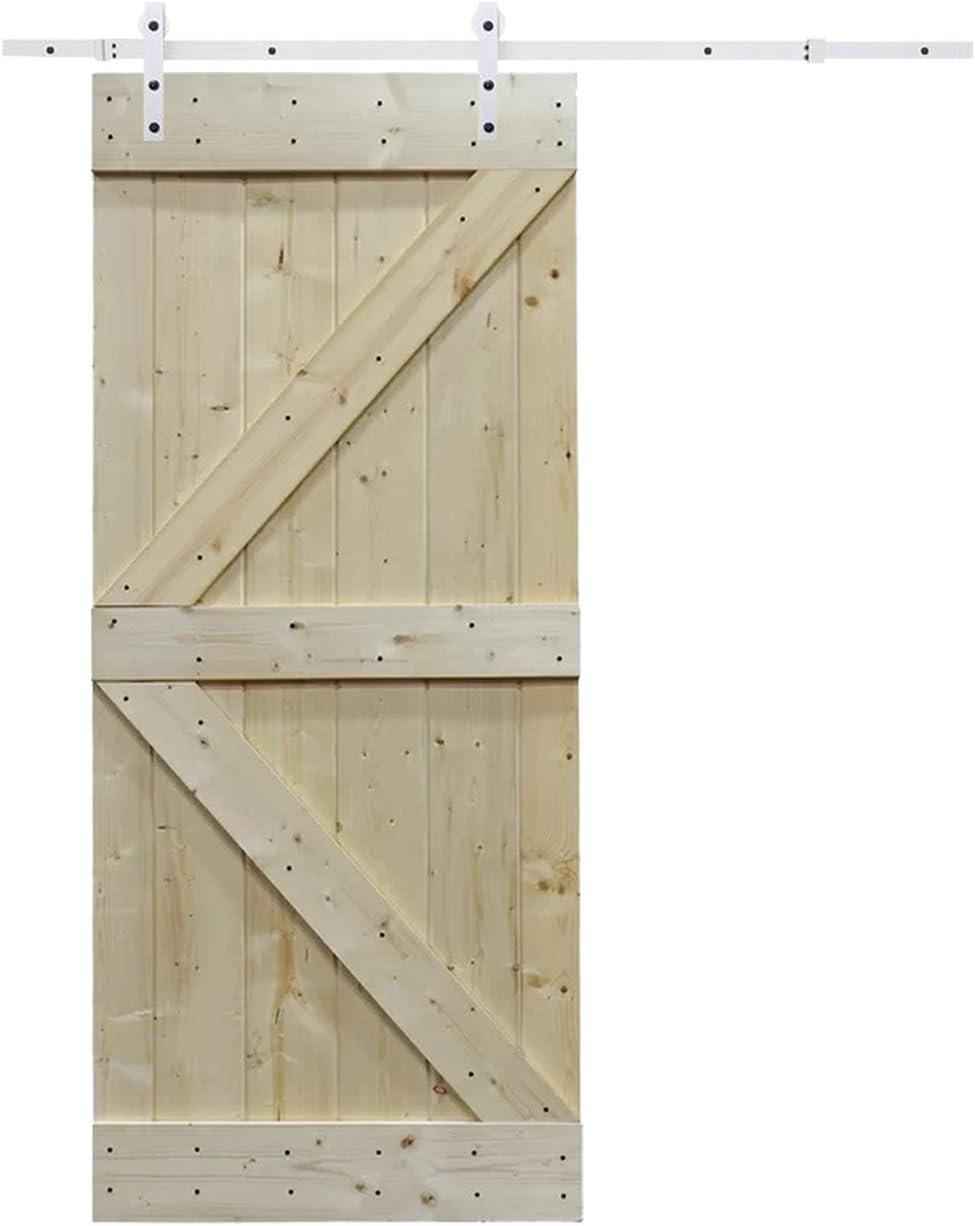 6.6 ft blanco puerta deslizante Hardware de puerta corredera Hardware Set con placa de pino madera maciza sin interior puerta de granero: Amazon.es: Bricolaje y herramientas