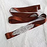Women's Formal Mother of the Bride Groom Dresses Belt with Silk Ribbon,Brown