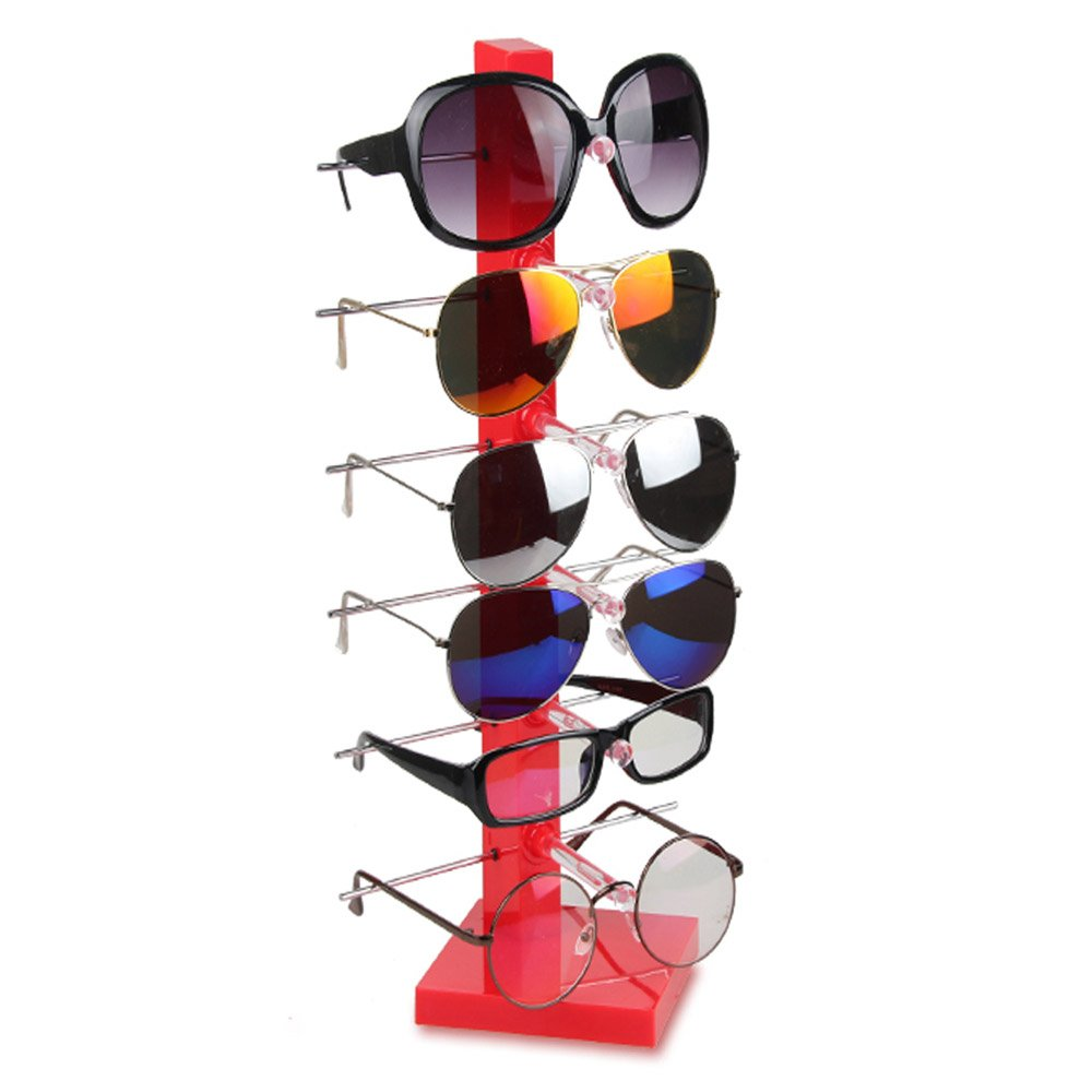 Fashion Design 6 Pair Sunglasses Eye Glasses Frame Rack Eyewear Counter Holder Display Stand Display Holder (Red) Sungee