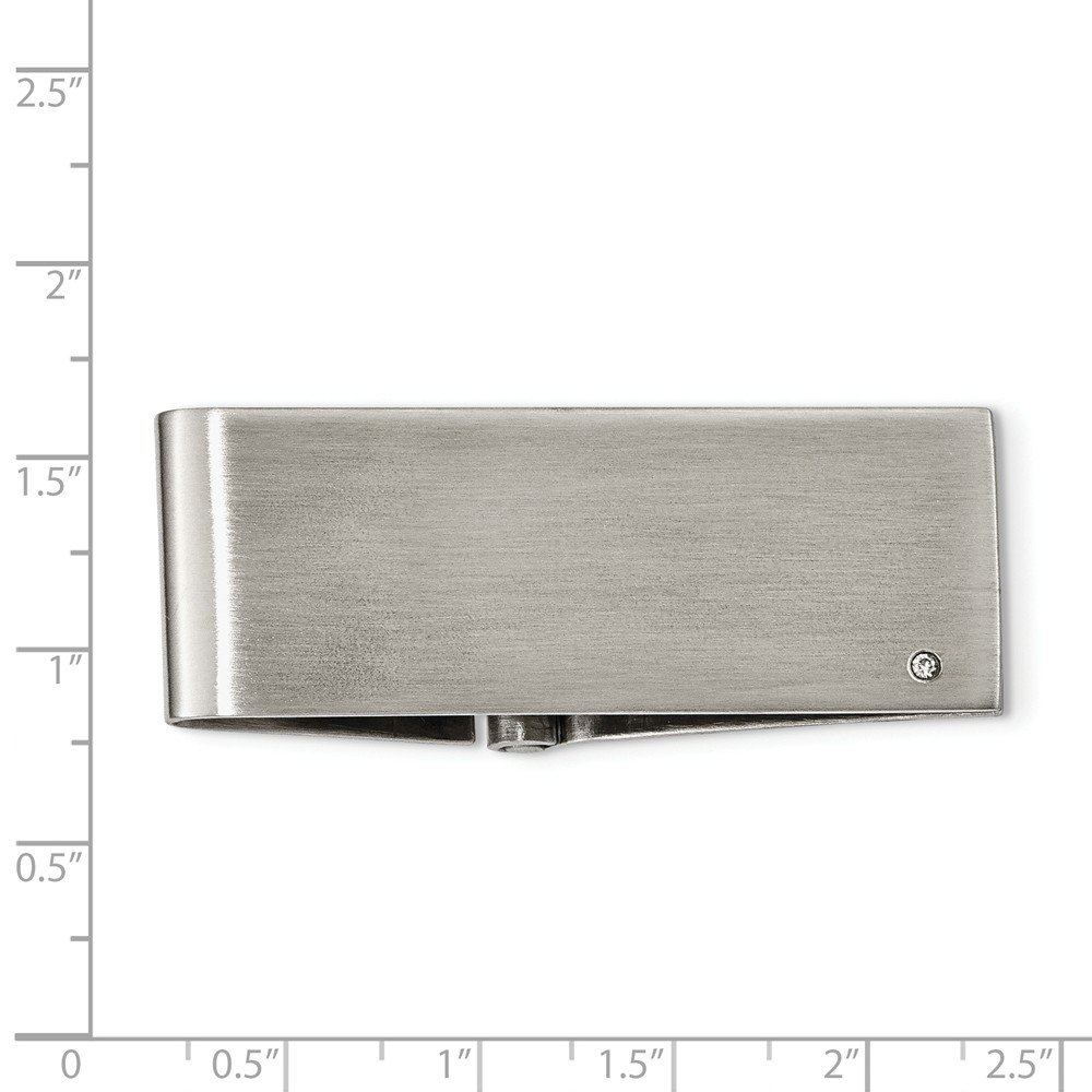Jewel Tie Stainless Steel Brushed Diamond Accent Hinged Money Clip 21mm x 50mm