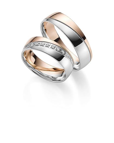 Anillos de boda Gold 333 en bicolor; incluye Grabado + piedra – Joyería Rubin.