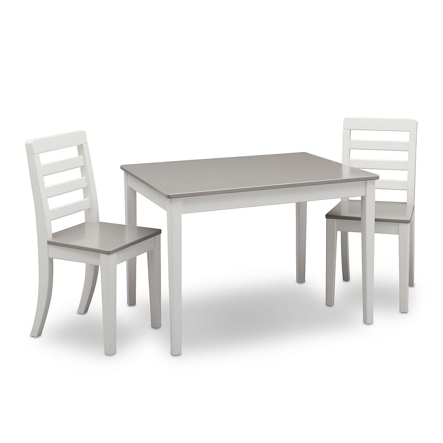 Delta Children Table and Chairs, 3-Piece Set (White and Grey) by Delta Children (Image #2)
