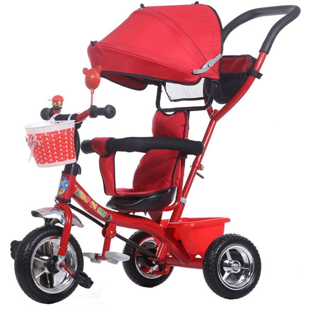 KANGR-子ども用自転車 多機能4-in-1折りたたみ式子供用三輪車キッドトロリープッシュハンドルステーラー自転車、アンチUV日よけ| 1-3-6歳の少年少女と赤ちゃんのおもちゃ|ブレーキ付き|インフレータブル(または非)ソリッドゴム3ホイール|赤 ( 色 : B型 bがた ) B07C9R3STYB型 bがた