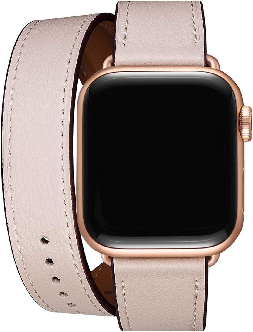 WFEAGL Compatible Watch Band 38mm 40mm 42mm 44mm, Top Grain Leather Double Tour Band for Watch Series 5,Series 4,Series 3,Series 2,Series 1,Sport Edition (Pink Sand Band+Rose Gold Adapter, 38mm 40mm)