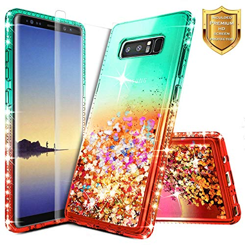 Galaxy Note 8 Glitter Case, NageBee Liquid Quicksand Waterfall Flowing Sparkle Shiny Bling Diamond Girls Cute Case w/[Full Cover Screen Protector Premium Clear] for Samsung Galaxy Note 8 -Teal/Red
