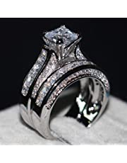 Luxury and Shining 2-in-1 Womens Vintage White Diamond Silver Engagement Wedding Band Ring Set