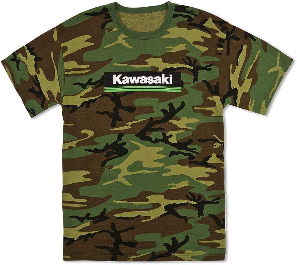 Kawasaki 3 Green Lines Logo Camo T-Shirt K009-2545-BK