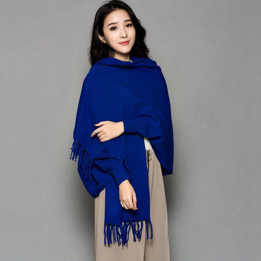 HAIZHEN alla moda alla moda Sciarpa femminile più spessa con maniche Ufficio Cloak Autunno e inverno caldo Scialle in 12 colori Morbido e caldo ( Colore : Blu zaffiro )