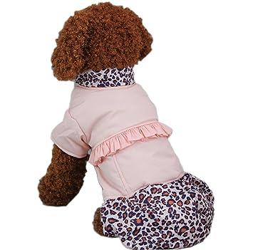 fastpet perro Leopard Patrón Cálido abrigos Pet Ocio Ropa De Invierno Ropa, tamaño grande), color rosa: Amazon.es: Productos para mascotas