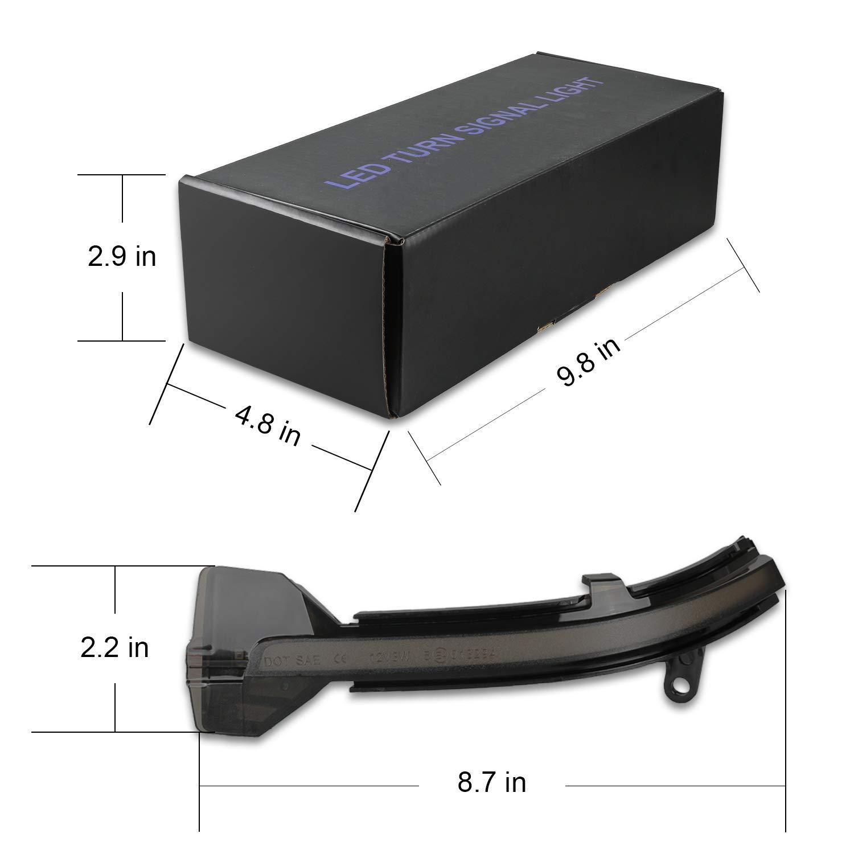 Indicador de espejo OZ-LAMPE Parpadeo din/ámico LED Intermitente Indicador lateral Fumar para BM-W F10 F11 F07 F12 F13 F06 F01