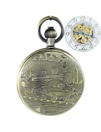 OGLE Waterproof Bronze Train White Chain Fob Self Winding Automatic Skeleton Mechanical Pocket Watch