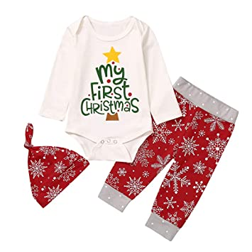 Unisex Baby My First Christmas Outfits Clothes Rompers Bodysuit Pajama