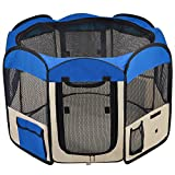 "48""x48""x36"" 2-Door Large Dog Playpen Blue Pet Puppy Tent Crate Exercise Kennel"
