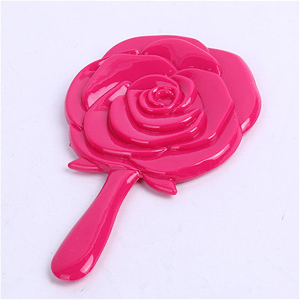 TiTa-Dong Portable Girl's Vintage HandHeld Mirror Rose Flower Style Makeup Beauty Dresser Gift Red