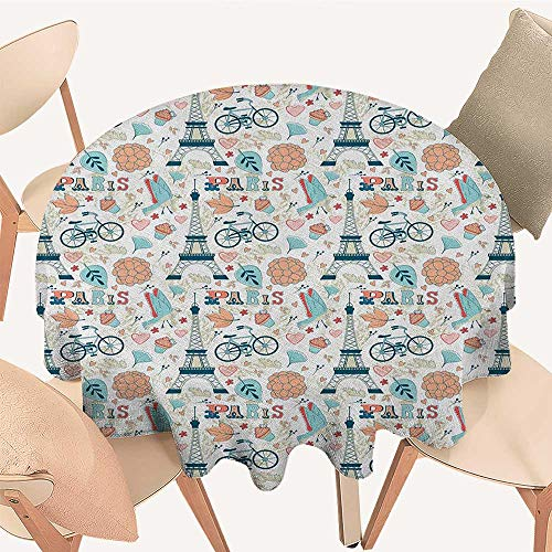 longbuyer Paris Jacquard Tablecloth Dove Cupcake Eiffel Tower Flowers Falling Leaves Love Grungy Autumn in France Theme Round Tablecloth D 70