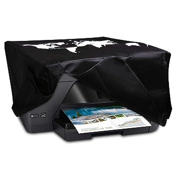 kwmobile Funda para HP OfficeJet Pro 6000series - Cubierta de Impresora en Blanco/Negro y con diseño de Mapa del Mundo