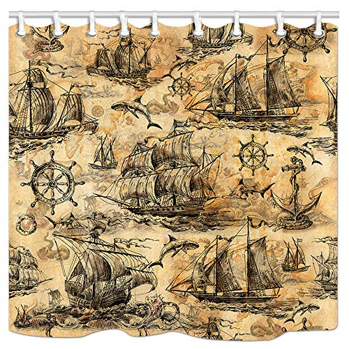 DYNH Sailboat Shower Curtain, Medieval Style Three-masted Sailing Ship, Anchor, Steering Wheel, Shark and Sea Monster Bath Curtain, Polyester Fabric Bathroom Curtain with 12 Hooks, 69X70 Inches