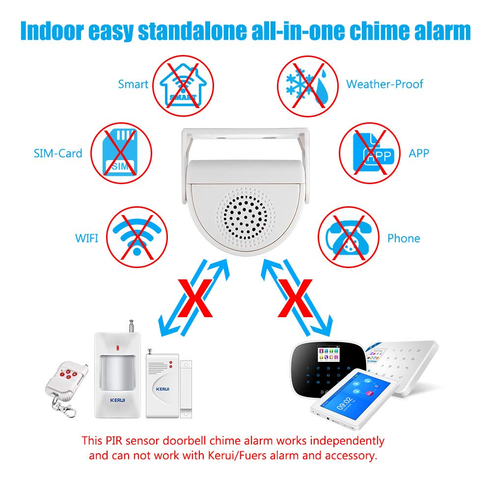 KERUI M5 Wireless Doorbell Infrared Door Chime Alarm System,Motion Sensor Voice Welcome for Home Shop,White