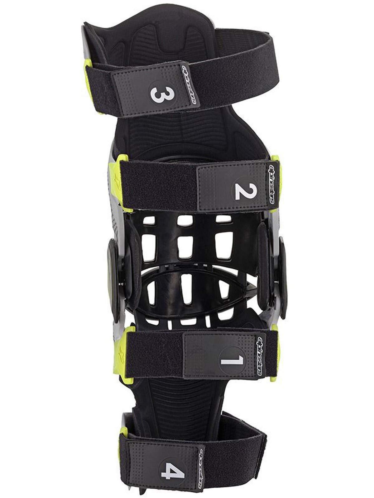 Bionic-7 Off-Road Motocross Knee Brace Set (Medium, Silver Yellow Fluo) by Alpinestars (Image #5)
