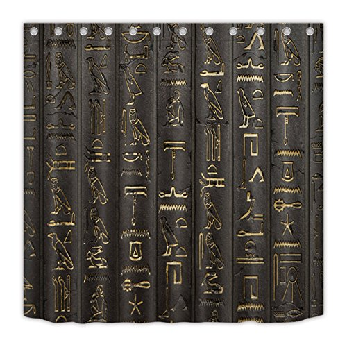 LB Ancient Egyptian Hieroglyphics Alphabet Symbols Shower Curtain for Shower Stall by, Cool Egypt Letters Drawing Bathroom Decor, 70x70 Polyester Fabric Shower Curtain Waterproof