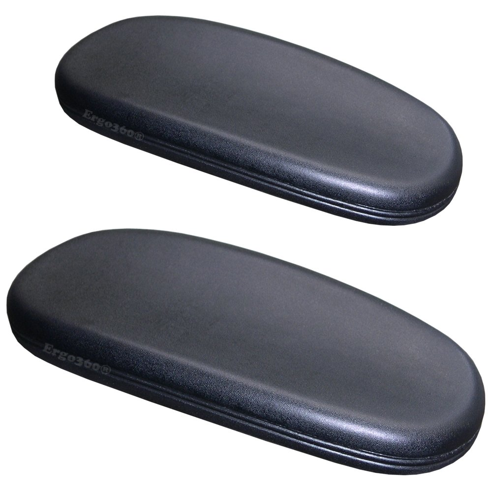 Ergo360 Chair Arm Pads for Office and Desk Chairs Complete Pair with Attachment Screws Soft Cushioning for Comfortable Support to Arms and Elbows Simple Install