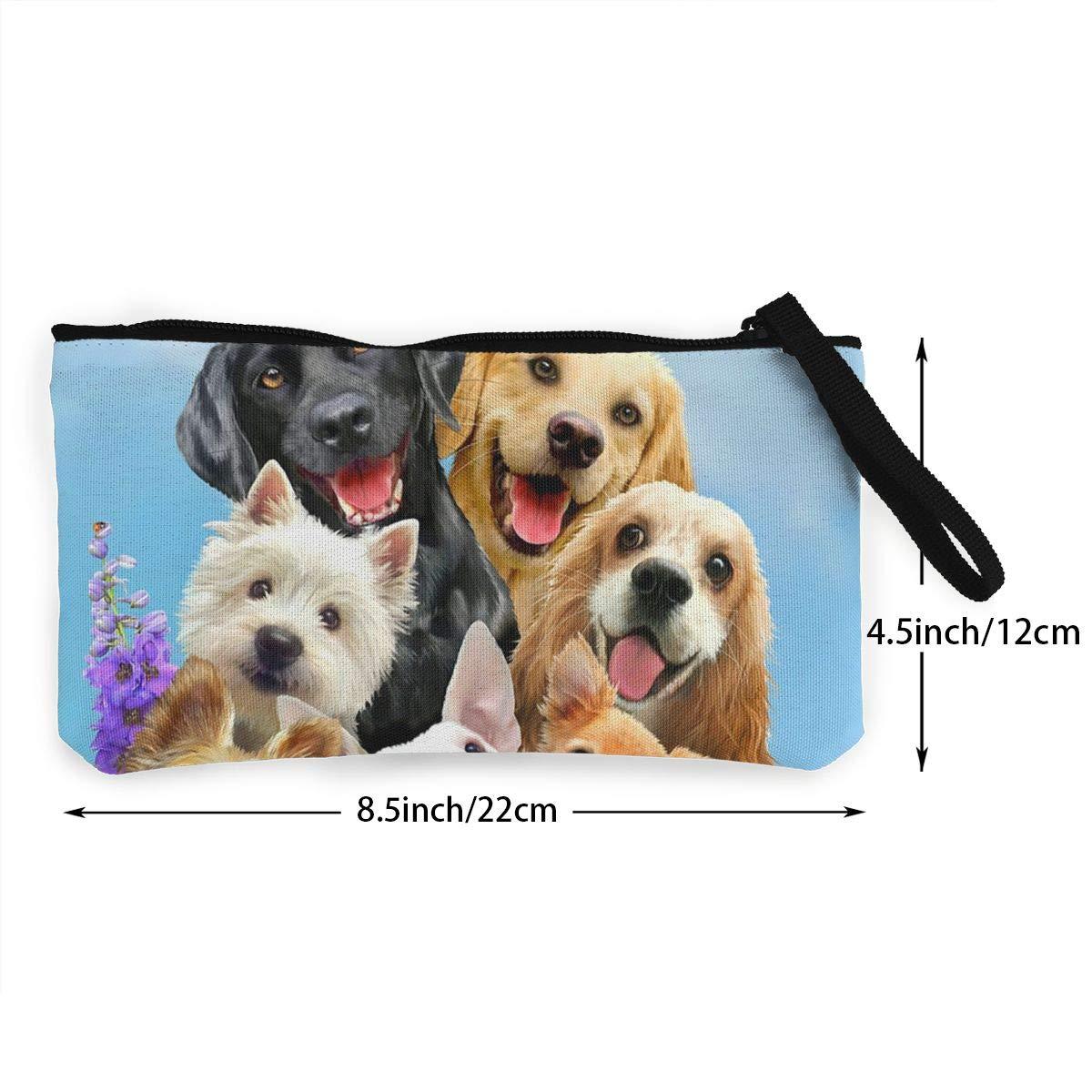 Canvas Cash Coin Purse,Dog Selfie Print Make Up Bag Zipper Small Purse Wallets