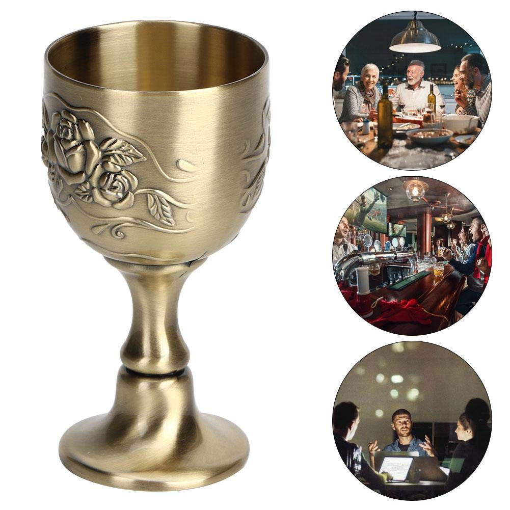 Brass 8x4cm European Style Vintage Hand-made Pure Copper Engraving Flower Pattern Small Liquor Cup Cocktail Wine Glass Goblet